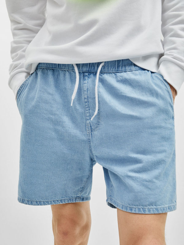 Blue Bleach Wash Denim Western Short